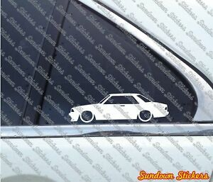 2x Lowered Car Outline Stickers for Mazda 626 Cb Hardtop Coupe 1978 1982
