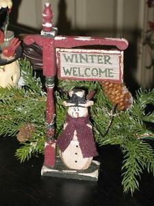 Wooden Swinging Post Winter Welcome Snowman