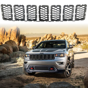 Black Front Honeycomb Grille Inserts For Jeep Grand Cherokee 2017 2018 2019