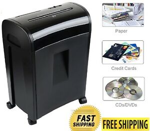 Cross cut Micro Paper Shredder 10 Sheets Security Pullout Basket Duty Capacity