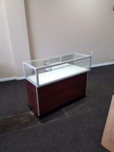 Jewelry Showcase 4 Case Glass Wood Used Store Fixtures Upscale Led Lights Locks
