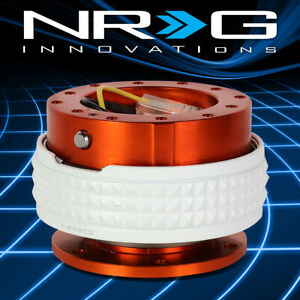 Nrg Aluminum Steering Wheel Quick Release 2 1 Orange Body With Glow In Dark Ring