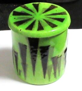 Rare Canton Enamel Green Art Deco Style Jar Box