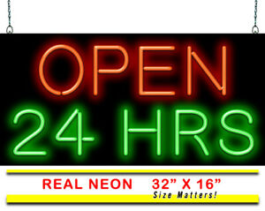 Open 24 Hours Neon Sign Jantec 2 Sizes Business Free Shipping Real