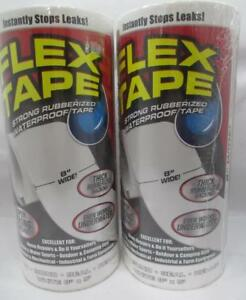 2 Flex Tape Super Strong Water Proof Tape Rubberized Seal Sealant White 8in X5ft