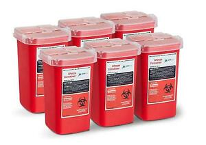 Adirmed Sharps And Needle Bio hazard Disposal Container 1 Quart 6 Pack