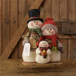 New Primitive Christmas Snowman Family On Sled Candle Doll Figure 16
