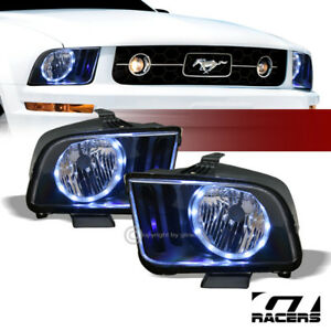 For 2005 2009 Ford Mustang Black Housing Drl Led Halo Ring Headlights Lamps Nb