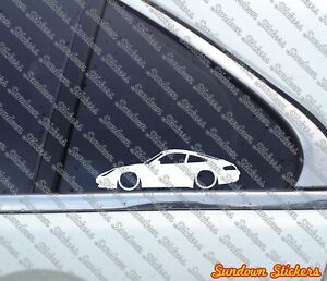2x Lowered Car Outline Stickers For Porsche 911 996 Carrera
