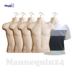 5 Pack Male Torso Mannequins Flesh Men Dress Body Form 5 Hangers