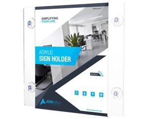 Adiroffice Clear Acrylic Window Sign Holder With Suction Cups 8 5in X 11in