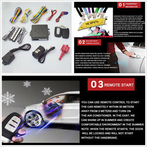 Car Engine Fingerprint Push Start Button Keyless Entry Starter Antitheft System