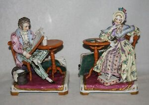 Pair Of French Sevres Porcelain Figures Couple At Side Tables