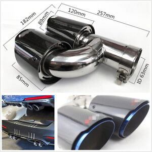 63 89mm Chrome Blue Real Carbon Fiber H Style Right Side Autos Dual Exhaust Pipe
