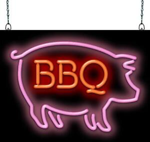 Bbq Pig Neon Sign Jantec 2 Sizes Barbecue Free Shipping Real Neon Pork
