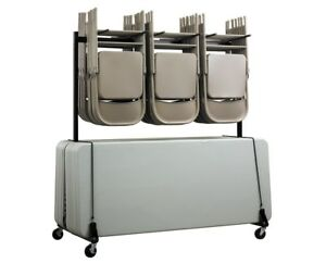 Adiroffice Chair And Table Combo Storage Movable Carrying Cart