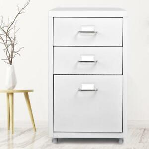 3 drawer Detachable Metal Mobile Filing Cabinet Home Office Furniture White D6j2