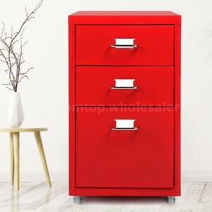 3 drawer Detachable Metal Mobile Filing Cabinet Home Office Furniture Red E2e9