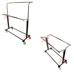 Adjustable Double Parrallel Bar Retail Rack Clothes Hanger W Swivel Wheels Lock