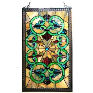 Window Panel Vintage Victorian Design 17 X 28 Tiffany Style Stained Glass Pair