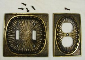 Vintage 1974 American Tack Hardware Brass Outlet Cover Double Switch Plate