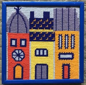 Vintage 60s 70s Buildings Needlepoint Retro Art Wall Hanging Mid Century Modern