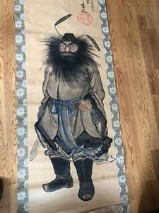Chinese Scroll Painting On Paper Signed Warrior Demon Killer