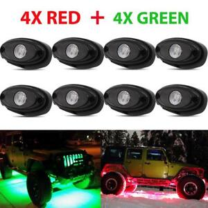 8x Green Red Rgb Led Rock Light For Jeep Ford Off road Truck Underbody Neon Pods