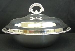 Vintage Double Anchors Wm Rogers Silver Plated Round Covered Casserole Dish