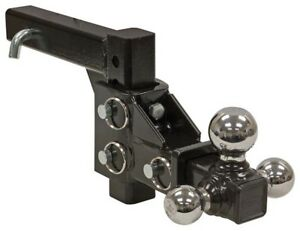 Buyers Products 1802225 Adjustable Tri ball Hitch W chrome Towing Balls