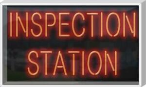 Xl Inspection Station Neon Sign Outdoor Jantec 37 X 22 Garage Car Auto