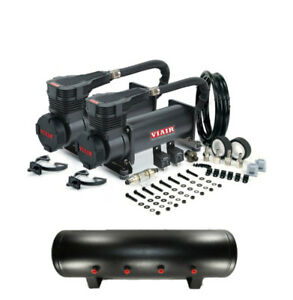 Viair 485c stealth Black Dual Air Compressor 200 Psi W 4 Gallon 9 Port Tank