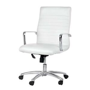 Adiroffice White Faux Leather Desk Office Computer Executive Chair