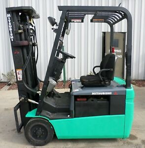 Mitsubishi Model Fb16nt 2007 3000 Lbs Capacity Great 3 Wheel Electric Forklift