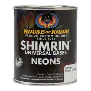 House Of Kolor Ne507 Q01 Shimrin Green Neon Basecoat Paint Quart