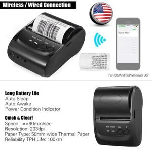 Pos 5802dd Mini Portable Wireless Usb Direct Thermal Printer Receipt Ticket Pos