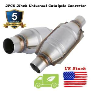 Pair 2 Universal Car Catalytic Converter High flow Round Epa Obd Ii Euro2 3 4