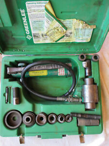 Greenlee 7306 Hydraulic Knockout Punch Driver Set W Case With 767 Pump 1 2 2