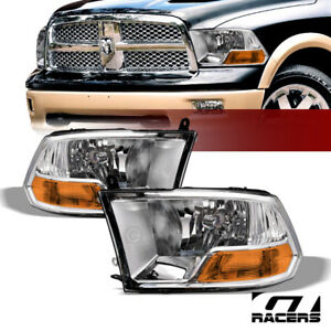 Dual Lamps For 2009 2019 Dodge Ram Factory Style Chrome Headlights Amber Pair Nb