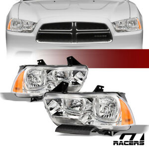 For 2011 2014 Dodge Charger Chrome Headlights Signal Corner Lamps Amber Pair Dy