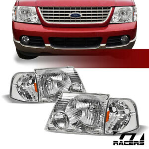 Chrome Clear Headlights Corner Signal Lamps Amber Dy 2002 2005 Ford Explorer 4d