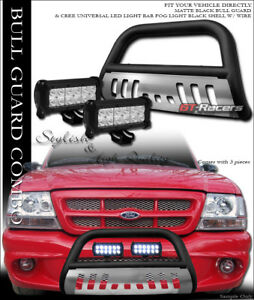 Matte Black Bull Bar Bumper Guard Skid 36w Cree Led Light For 98 11 Ford Ranger