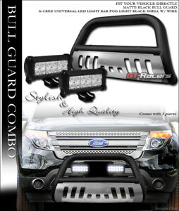 Matte Black Bull Bar Guard Ss Skid 36w Cree Led Lights For 11 18 Ford Explorer