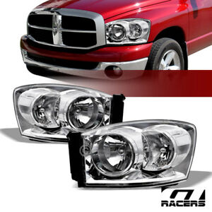 For 2006 2008 Dodge Ram Chrome Clear Housing Headlights Signal Lamps Pair Nb
