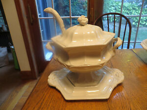 Vint Red Cliff Ironstone Soup Tureen Cover Platter Underplate Ladle Flower Usa