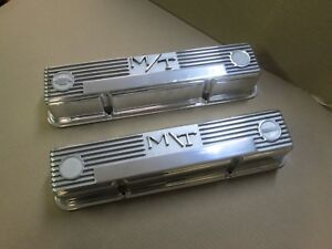 M t Small Block Chevy Finned Valve Covers Mickey Thompson Restored Nice