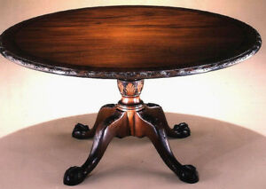 Chippendale Style Mahogany Dining Table 60 Inch In Diameter With Burl Crossband