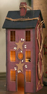 New Primitive Country Burgundy House Lamp Light Windows Grapevine Berry Star