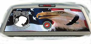 Eagle Pow Mia Marines 02 Rear Window Graphic Tint Truck Stickers Decals