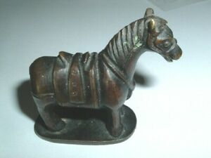 Fine 2 Small Antique Chinese Bronze Horse Sculpture Very Old